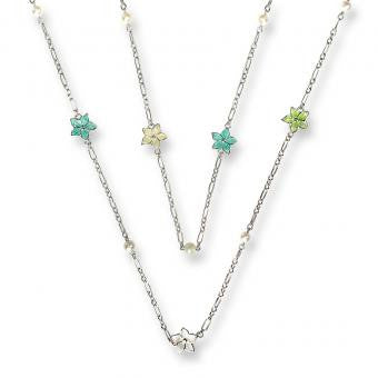 Stephanotis Necklace -White, Yellow, Green, Turquoise. Set with Freshwater Pearls.