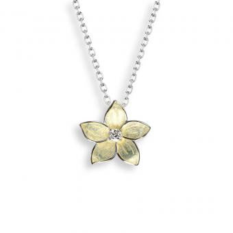 Vitreous Enamel on Sterling Silver Stephanotis Necklace-Yellow. Set with White Topaz.