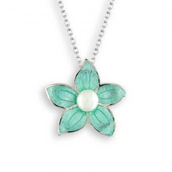 Vitreous Enamel on Sterling Silver Stephanotis Necklace-Turquoise with a Freshwater Pearl.