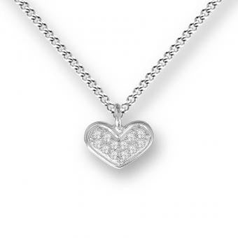 Sterling Silver Heart Necklace. Set with White Sapphires.