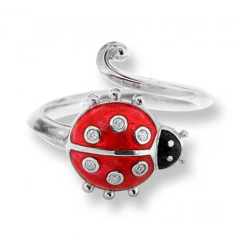 Enamel on Sterling Silver Ladybug Ring-Red with Diamond