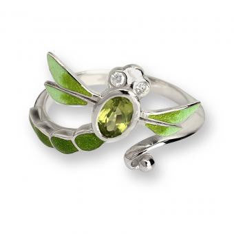 Enamel on Sterling Silver Dragonfly Ring-Green. Set with Diamonds and Peridot