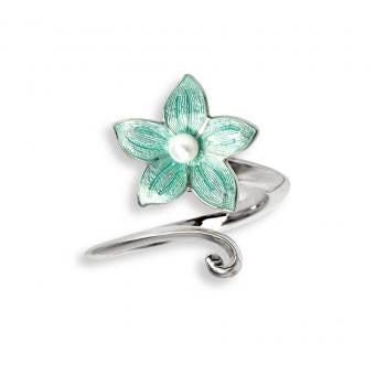 Enamel on Sterling Silver Stephanotis Ring with Freshwater Pearl