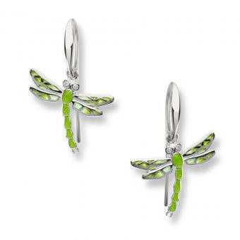 Sterling Silver Dragonfly Wire Earrings -Green. Set with Diamonds.