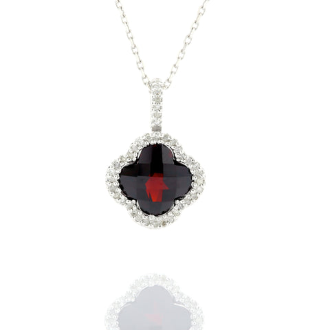 14KW 3.13 ct garnet necklace enveloped by 0.12ct in white diamonds