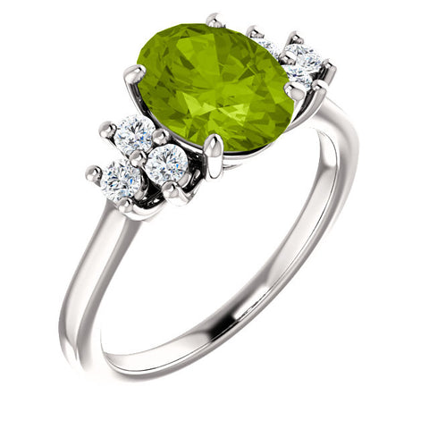 18KW Peridot and White Topaz Ring