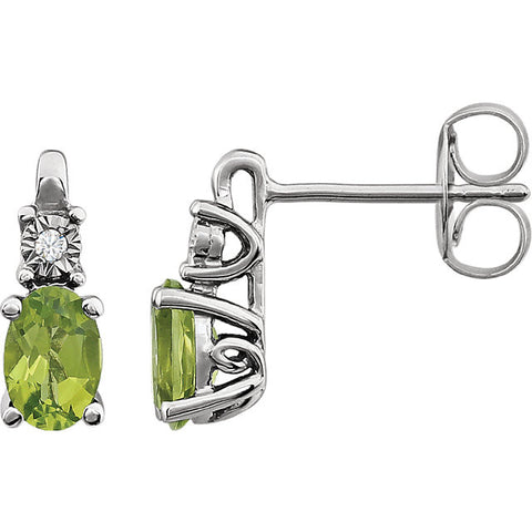 14KW Peridot  and 0.02 CTW Diamond Accented Earrings