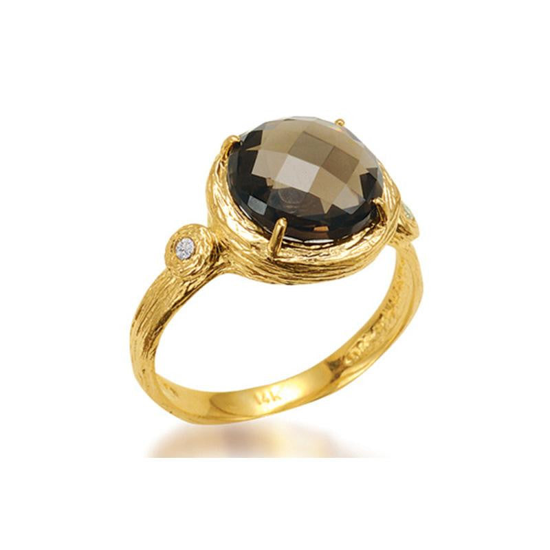 14KY MATTE-FINISHED AND TEXTURED SMOKEY TOPAZ RING WITH 0.03 CT OF DIAMONDS