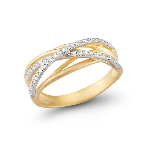 14KY MATTE-FINISH ARCH TUBE RING WITH 0.25 CT OF PAVE DIAMONDS