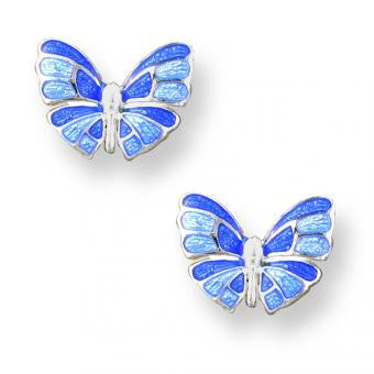 Vitreous Enamel Sterling Silver Butterfly Stud Earrings-Blue.