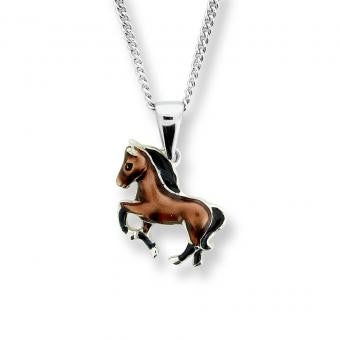 Vitreous Enamel Sterling Silver Horse Necklace-Brown