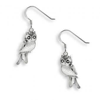 Vitreous Enamel on Sterling Silver Wire Earrings-Owl-Gray-White Sapphire.