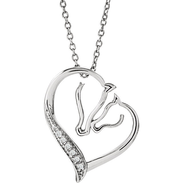 Tender Voices SS 0.03 CTW Diamond Horse Heart Necklace