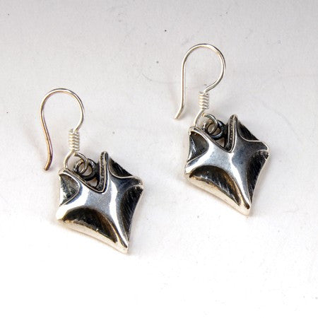 Sterling Silver Oxidized Silver Fox Head Earrings