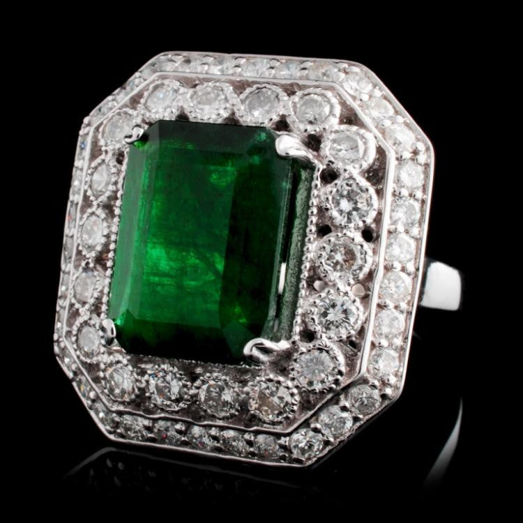 4.96 ct Emerald and 1.50 ctw Diamond 14K White Gold Ring