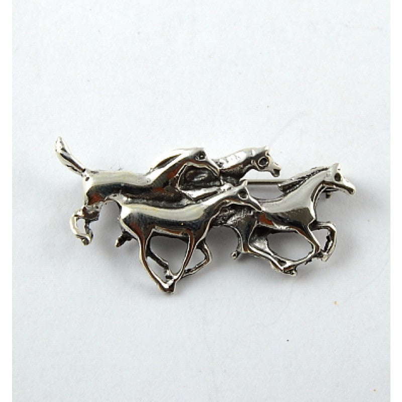Silver Four Horse Pin