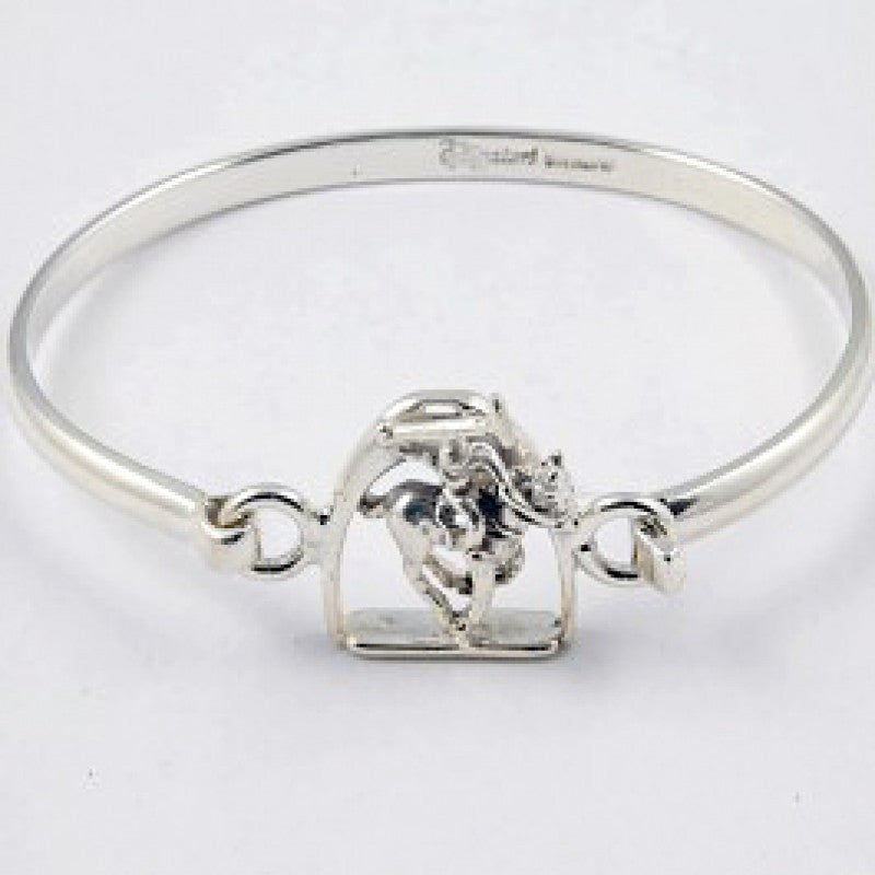 Sterling Silver Polo Player Bangle