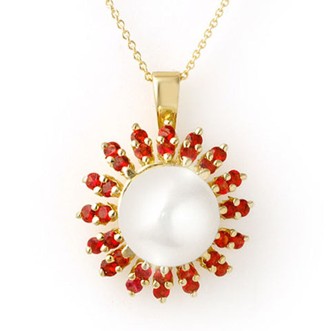Natural Red Sapphire and Pearl 14K Yellow Gold Ladies Necklace