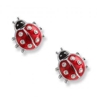 Enamel on Sterling Silver Ladybug Stud Earrings-Red. Set with Diamonds.