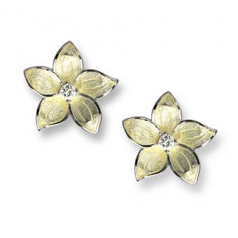 Vitreous Enamel on Sterling Silver Stephanotis Stud Earrings-Yellow. Set with White Topaz.