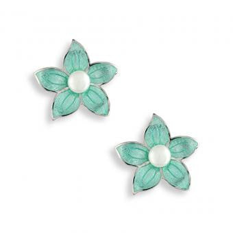 Vitreous Enamel on Sterling Silver Stephanotis Stud Earrings. Turquoise. Set with Freshwater Pearls.