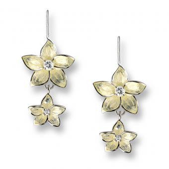 Vitreous Enamel on Sterling Silver Stephanotis Wire Earrings-Yellow. Set with White Topaz.