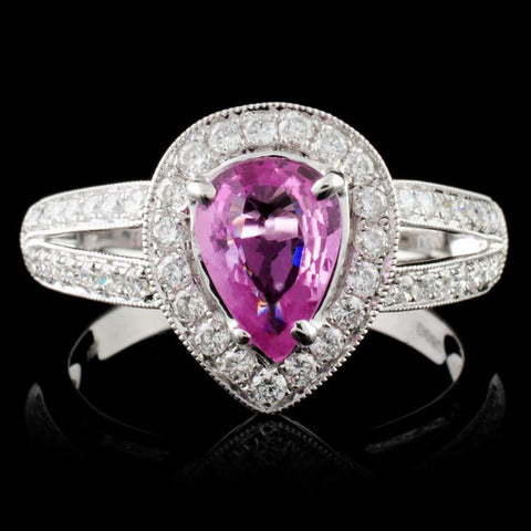 1.03ct Pink Sapphire and 1.04ctw Diamond 14K White Gold Ladies Ring