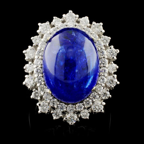 13.16 ct Tanzanite and 1.04 ctw Diamond 14K White Gold Ladies Ring