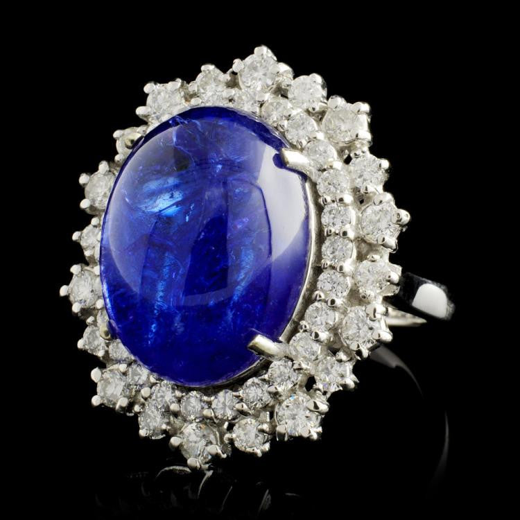 and diamond ring blue white gold tanzanite