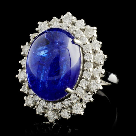 tanzanite and diamond cabachon white gold ring