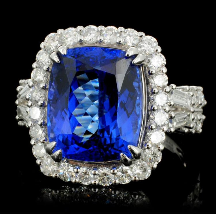 7.85 ct Tanzanite and 0.99 ctw Diamond 18K White Gold Ring