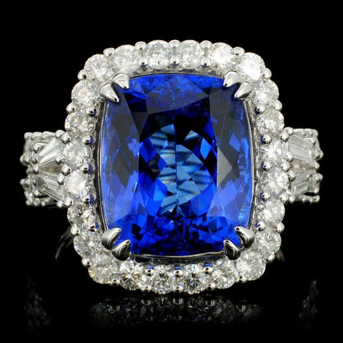 7.85 ct Tanzanite and 0.99 ctw Diamond 18K White Gold Ladies Ring
