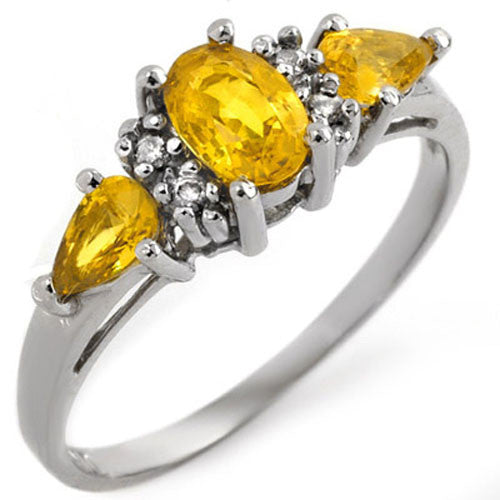 natural yellow sapphire and diamond white gold ring