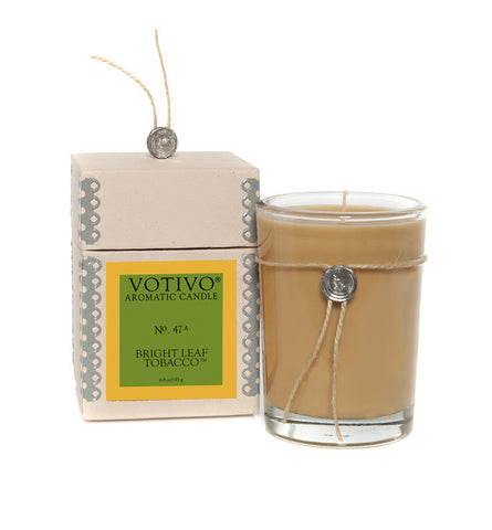 votivo bright leaf tobacco candle