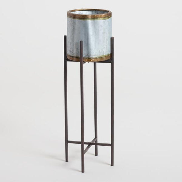 Antiqued Galvanized Metal Planter With Stand