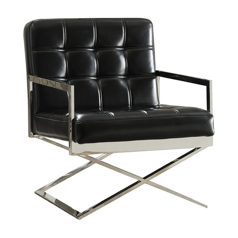 ACME Riley Accent Chair in Black Faux Leather and Stainless Steel