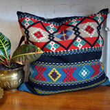 blue embroidered-wool pillow