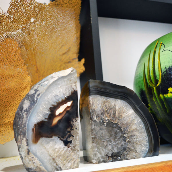 gray polished-geode bookends - You & Yours Fine Vintage