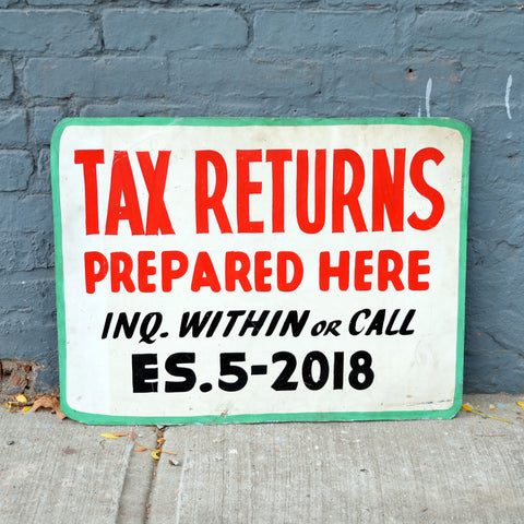 1950s hand painted metal tax sign - You & Yours Fine Vintage