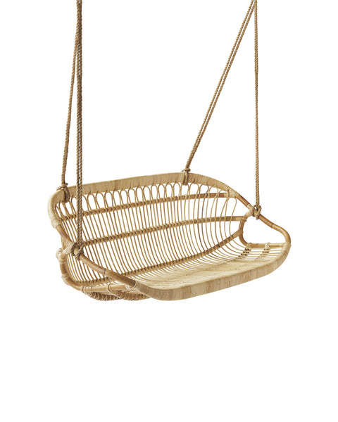 A handmade rattan hanging bench pictured at an angle.