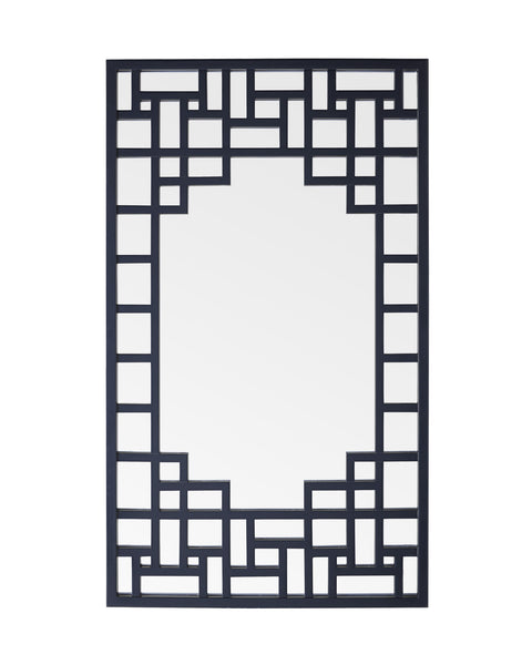 Vertical mirror with navy blue trellis pattern frame.