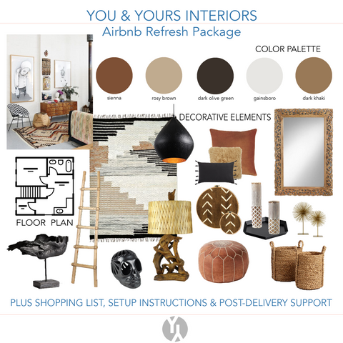 A digital concept board showing neutral color palette, a floor plan, decorative objects like vases and more.