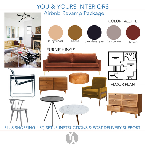 A digital concept board showing a brown & deep red color palette based on a photo of an eclectic living area.