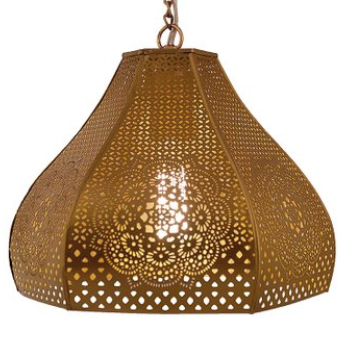 Gold Perforated Moroccan Pendant Light