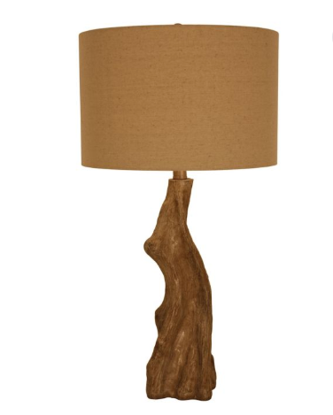 Decor Therapy Delmare Faux Wood Table Lamp in Driftwood