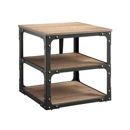 A square end table with 3 composite wood shelves and a metal frame in the industrial style.