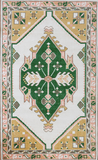 An Oriental-style rug with pink, green, and yellow designs. Measures 5 feet by 8 feet.