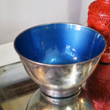 mid-century bowl with blue enamel interior - You & Yours Fine Vintage