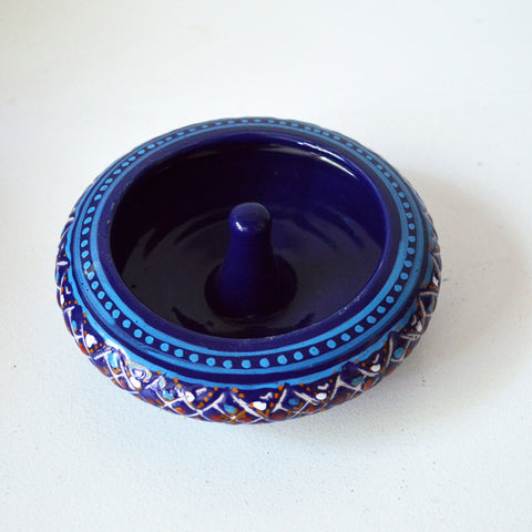hand-painted blue ashtray - You & Yours Fine Vintage