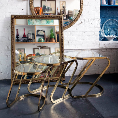 3 brass and glass nesting coffee tables - You & Yours Fine Vintage
